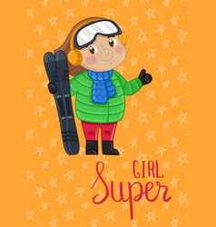 super girl kids postcard template vector image