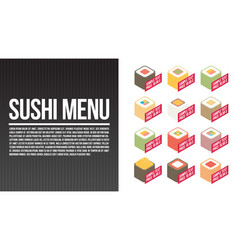 Sushi menu template flat vector