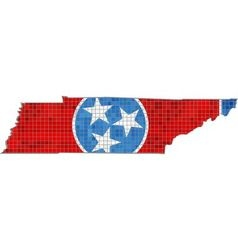 Tennessee map with flag inside vector