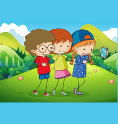 three kids taking selfie in the park vector image