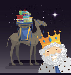 Three kings selfie with king melchior camel and vector