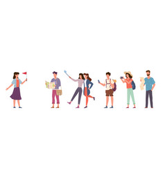 tourists and tour guide travelling people group vector image