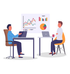 two men office workers sits in office and chats vector image