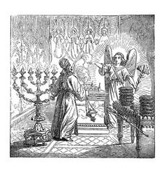 Vintage drawing biblical story birth of vector