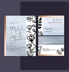 Wedding invitation design with plants romantic vector