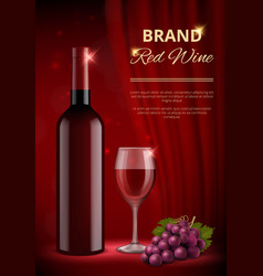 wine ads alcohol promo advertizing placard vector image