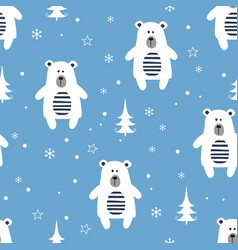 Winter seamless pattern with cartoon polar bears vector