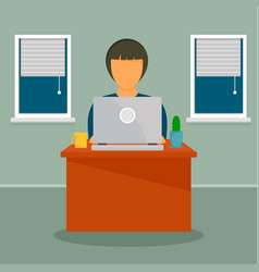 Woman distant work concept background flat style vector