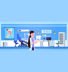 Woman doctor holding tooth over dental office vector