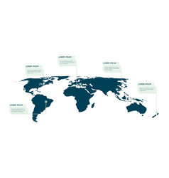 world map infographic callout info text boxes vector image