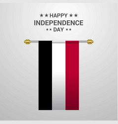 Yemen independence day hanging flag background vector