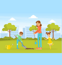 young woman and two children planting trees vector image