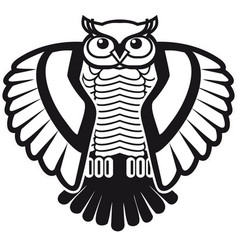 design for logo black and white owl vector image vector image