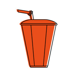 Disposable cup with straw icon image vector