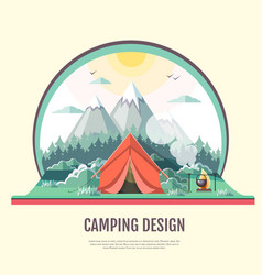 flat design of retro landscape and camping tent vector image vector image