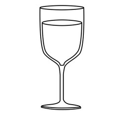 Monochrome silhouette of glass cup with champagne vector
