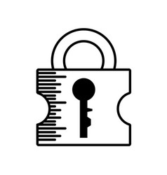 padlock security system outline vector image