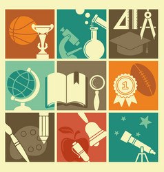Symbols school in retro style vector