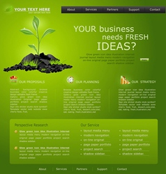 web site for business green with green sprout vector image
