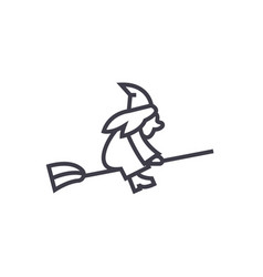 witch on a broomstick line icon sign vector image