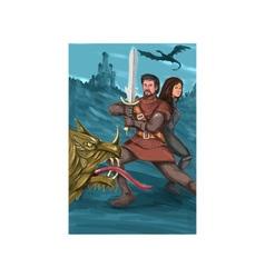 Cavalier and Princess Fighting Dragon Watercolor vector image