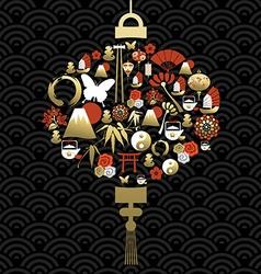 Chinese lamp lantern silhouette icon symbol vector image
