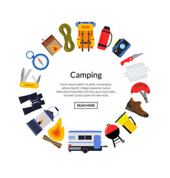 flat style camping elements vector image vector image