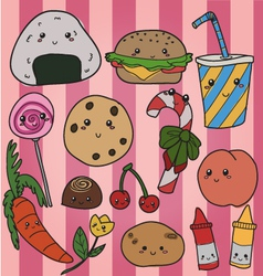 kawaii food vector image vector image