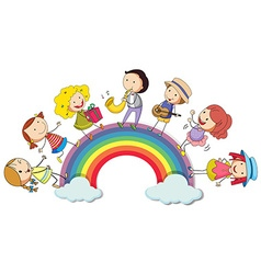 People standing over the rainbow vector image vector image