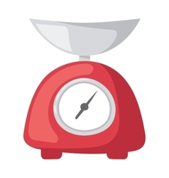Red weight kitchen scales vector