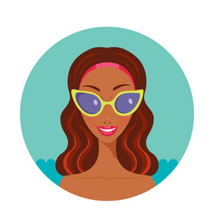 beautiful happy african american in stylish vector image