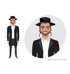 jew character isolated on white background vector image vector image