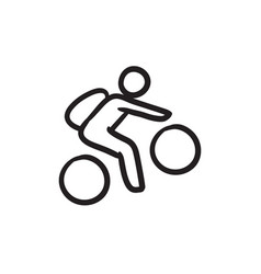man riding bike sketch icon vector image vector image