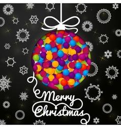 Merry Christmas handwritten swirl lettering vector image