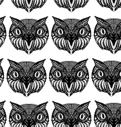 Owl head Doodle hand drawn Seamless patern black vector image vector image