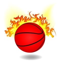 simple burning basketball vector image vector image