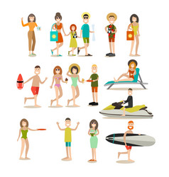 summer people flat icon set vector image vector image
