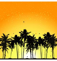 tropical sunset palm trees vector image vector image