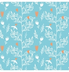 blue seamless pattern with weed flowers and birds vector image vector image