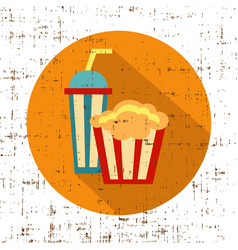 carton bowl full of popcorn and paper glass of vector image