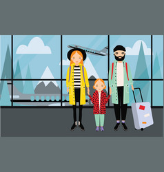 Family at airport trendy young couple with baby vector