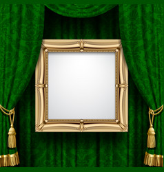 Green curtain with a gold frame vector