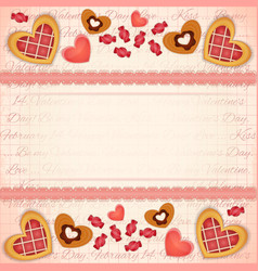 Greeting Valentines Card with Sweet Hearts vector image