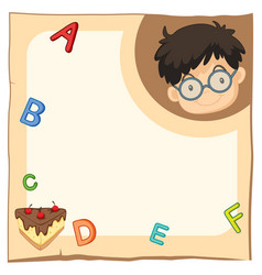paper template with happy boy and alphabets vector image