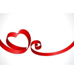 red heart from ribbon vector image vector image