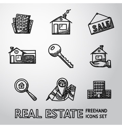 Set of freehand REAL ESTATE icons - landscape vector image