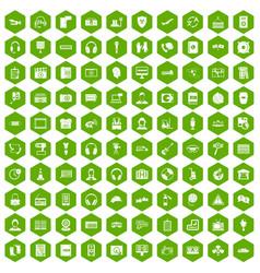 100 headphones icons hexagon green vector