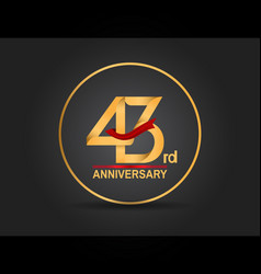 43 anniversary design golden color with ring vector