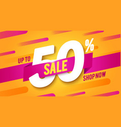 50 percent off sale banner modern and dynamic look vector image