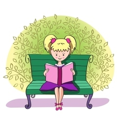 A girl reads a book vector image